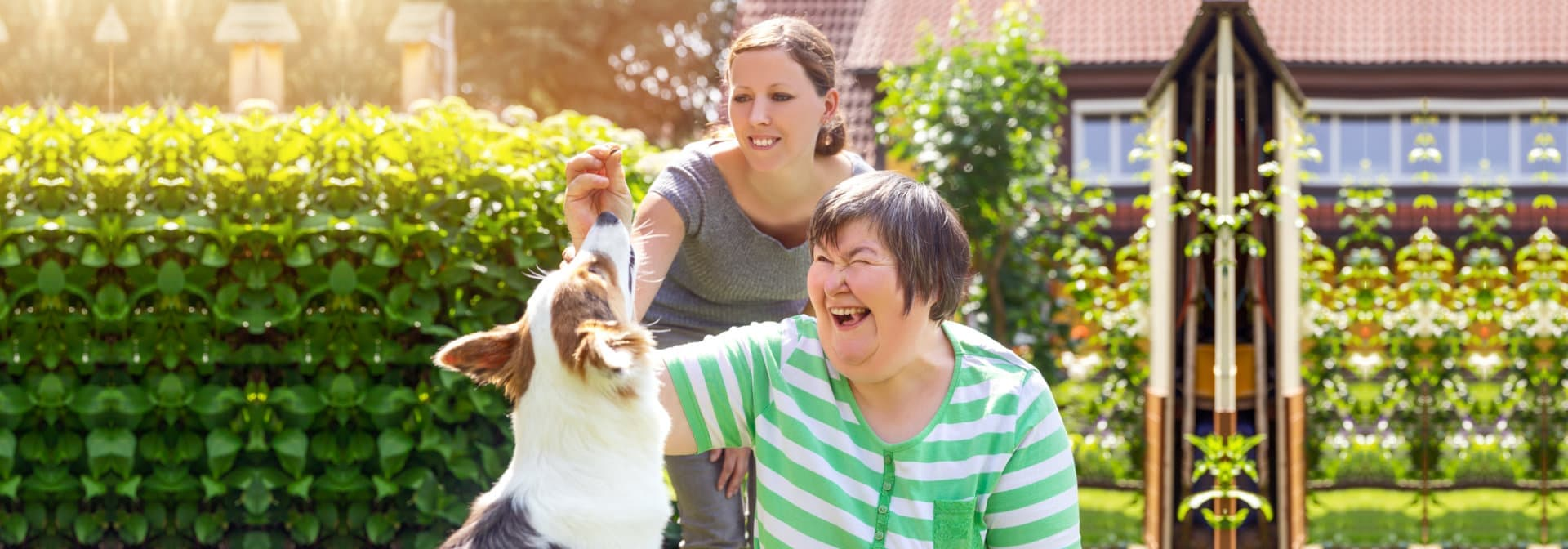happy women with dog