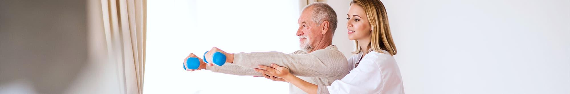 caregiver assissting the elder