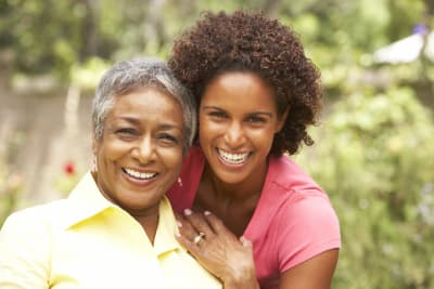 caregiver and a happy woman